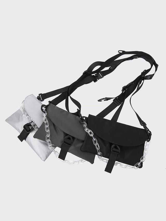 【即日出荷】クリアチェーン付2WAYミニスクエアバック 鞄 ミニバッグ ユニセックス