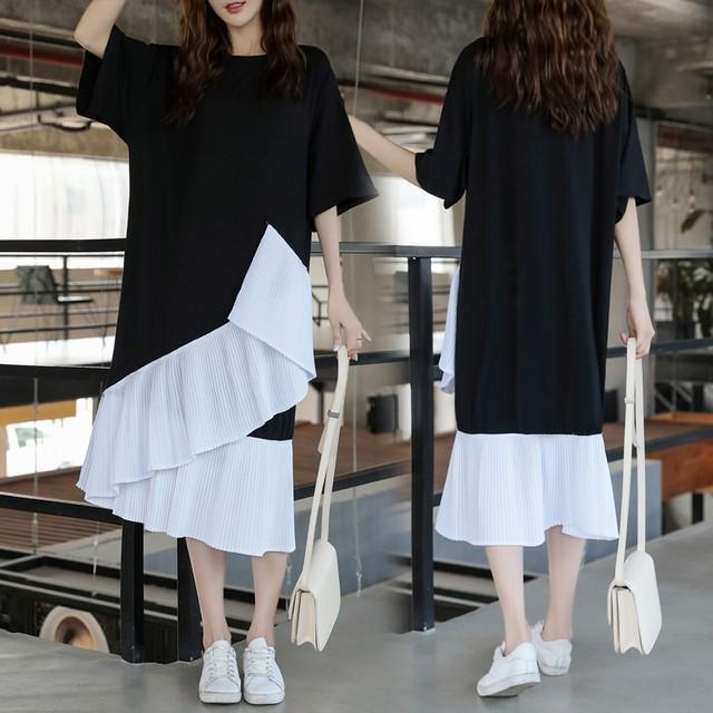 レディース 半袖 フリルパターンワンピース マタニティ / Women's Loose Maternity Dress Cotton Short Sleeve T-shirt Dress Shirt (DCT-587641910858)