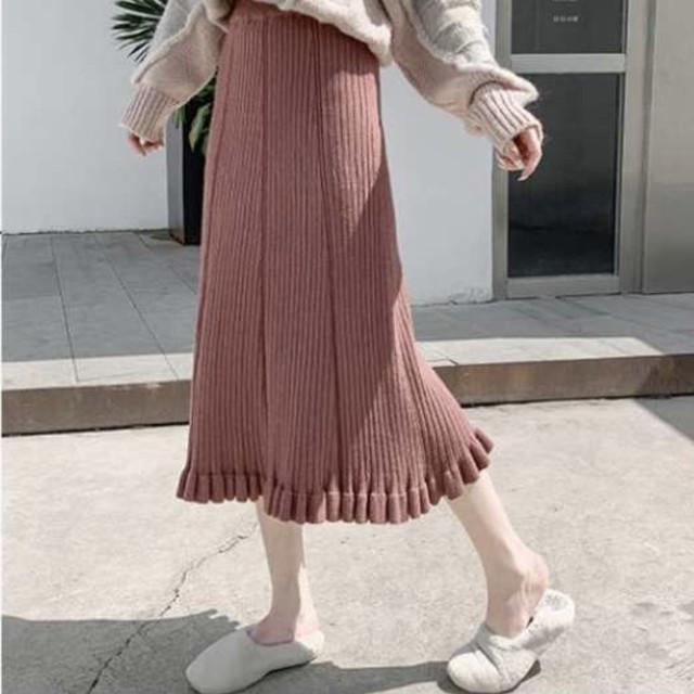 ニット 裾フリル ロングスカート 7色 B2227