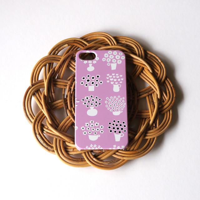 【iPhone / Android 各機種専用タイプ】側表面印刷*ハード型*スマホケース「flower base ( lavender )」● 受注生産