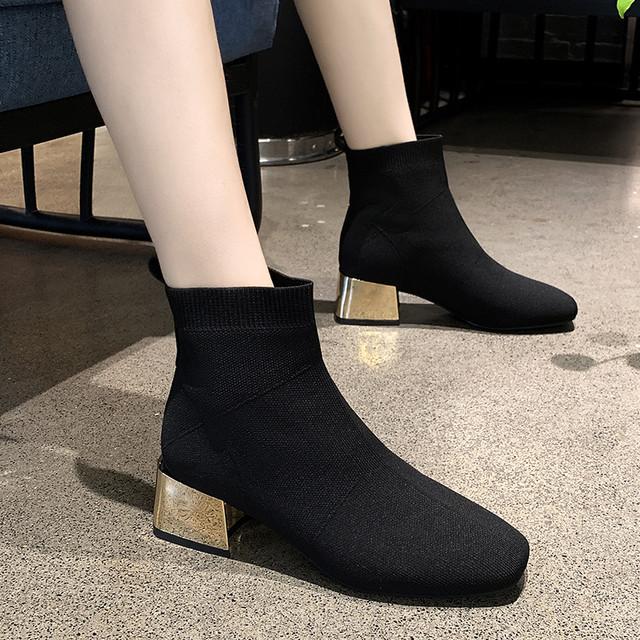 【shoes】安定感があるチャンキーヒール伸縮性いいブーツ