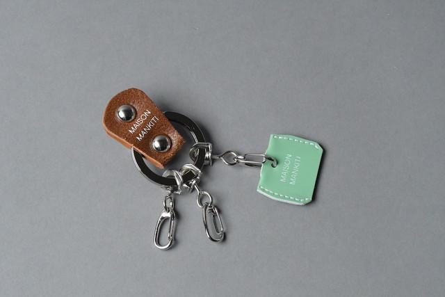 KEY RING・CAP ■ブラウンS・エメラルドグリーン■_本革真鍮キーリング・キーキャップセット_ - メイン画像