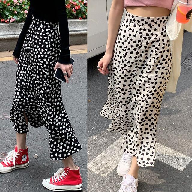 不規則デザイン フィッシュテールスカート ハートドット柄 裾フリル ハイウエスト ロング丈 韓国ファッション レディース 大人可愛い ガーリー フェミニン / High waist irregular split fish tail skirt (DTC-642774506520)