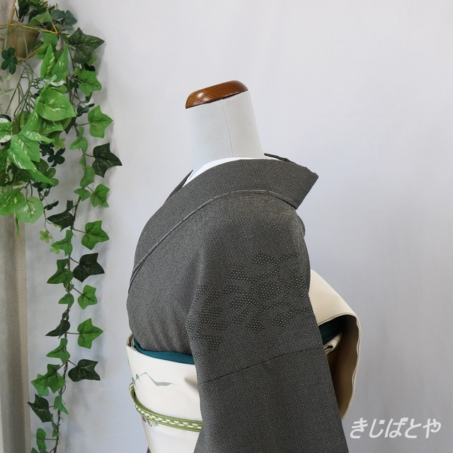 結城紬 鈍色の小紋 単衣