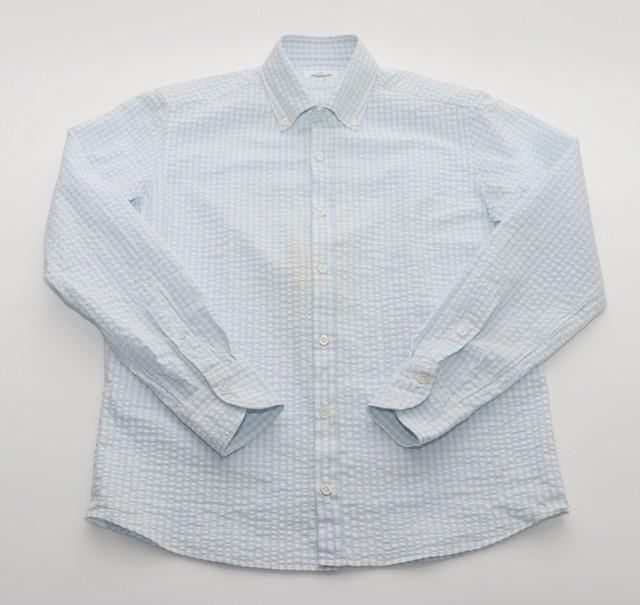 GIANNETTO / ジャンネット  ギンガムチェック B/D シアサッカーシャツ