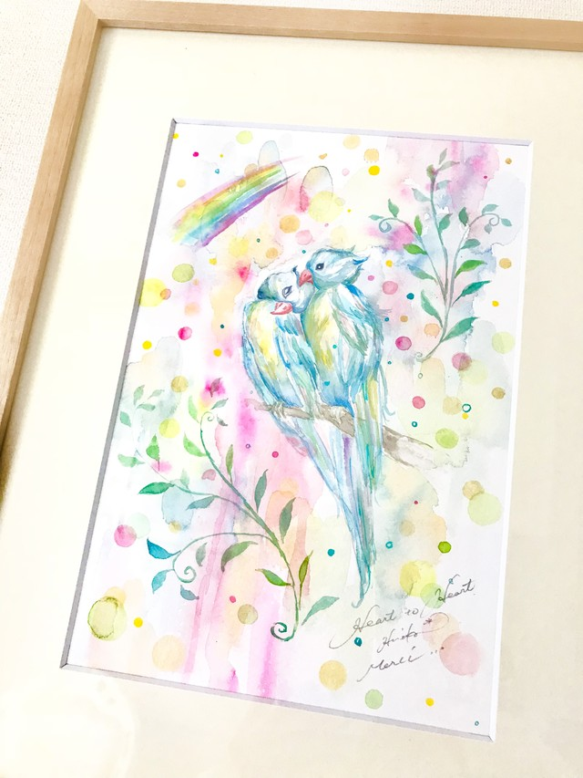 Heart to Heart ( long tail )~Under the Rainbow { 水彩画 ART }