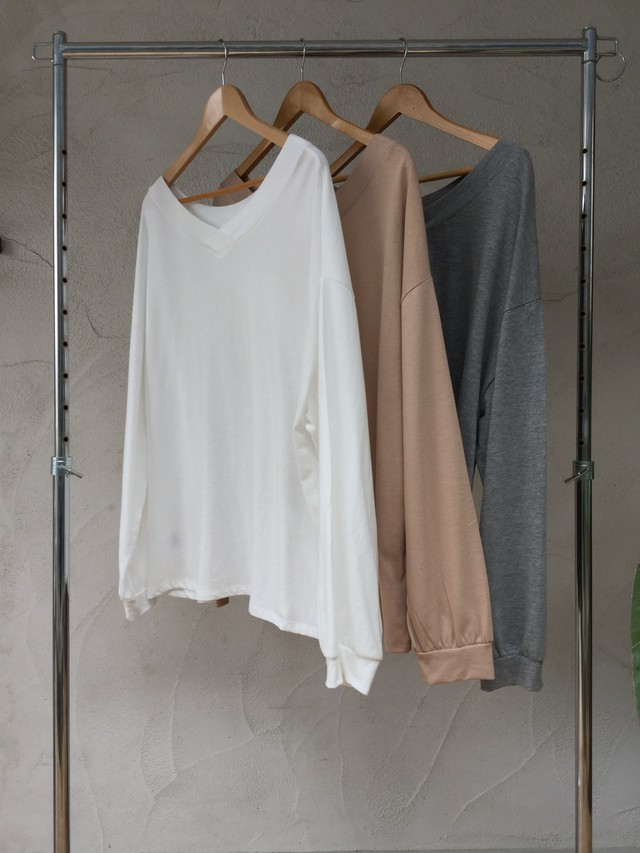 Wide Loose L/S Tee《WHT/BEG/GRY》20383012