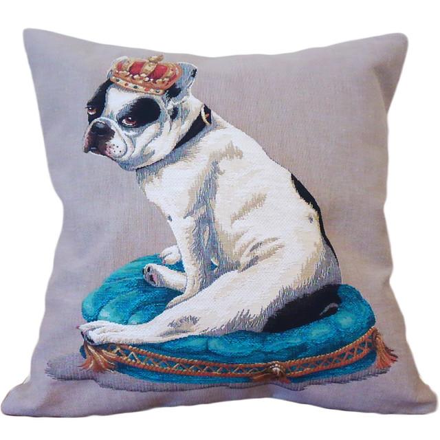 フレンチブル&クラウン柄 ジャガード織り 犬クッションカバー★ベルギー製