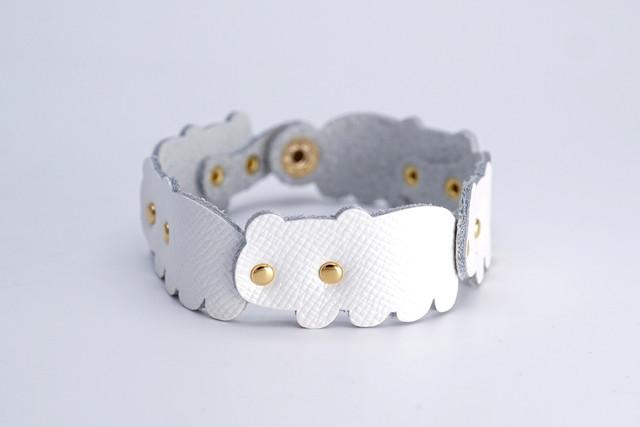 くま連合ブレスレット|白熊(牛革製)