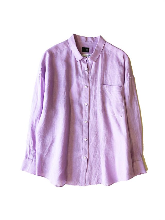 Italian Linen shirt Lavender + White / C+