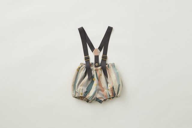 【21AW】eLfinFolk(エルフィンフォルク)Crambon stripesuspenders bloomers(80/90)ロンパース ブルマ