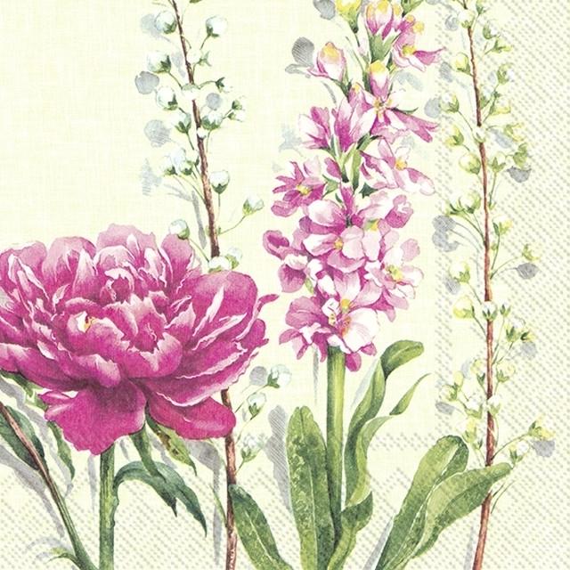 2021春夏【IHR】バラ売り2枚 ランチサイズ ペーパーナプキン PFINGSTROSE ライトグリーン
