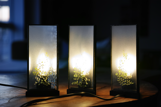 お在庫3点【アジアンタム】△ GLASS LAMP(スイッチ式卓上照明)LED球