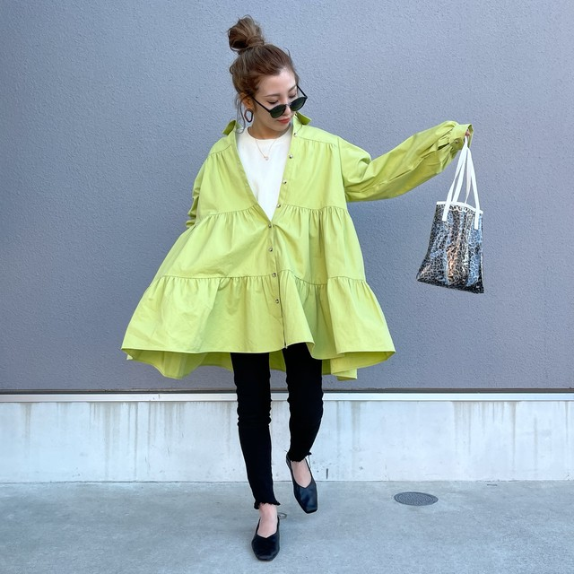 CottonTiered long tail SH OP/lime yellow