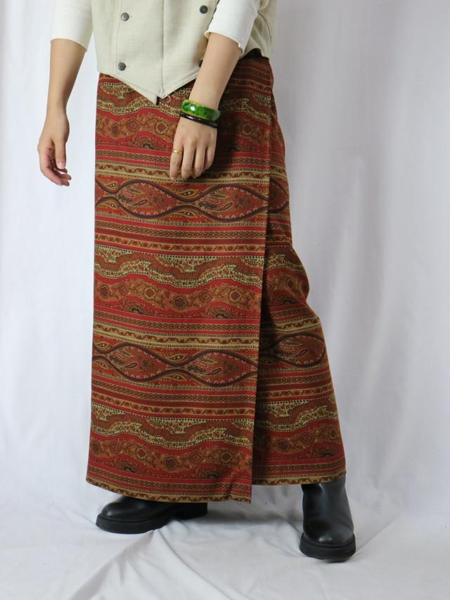 ethnic pattern wrap skirt【5781】