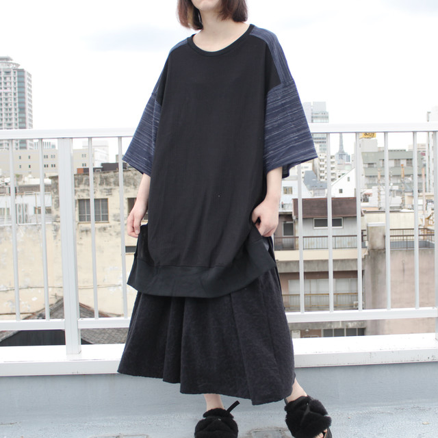Long-Slit-Sleeve-dress (black/navy)