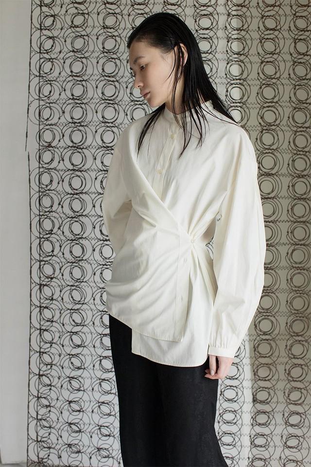 【LEINWÄNDE】 Pleats Sleeve Nocollar Shirts -WHITE 022103060800