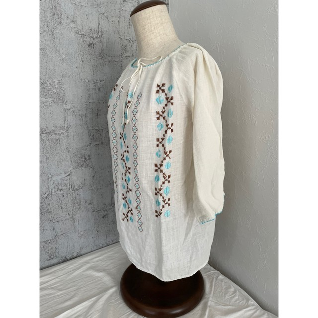 Powder blue embroidery blouse