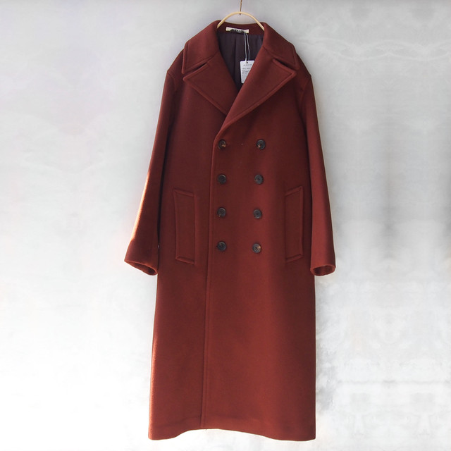AURALEE BEAVER MELTON LONG P-COAT RED