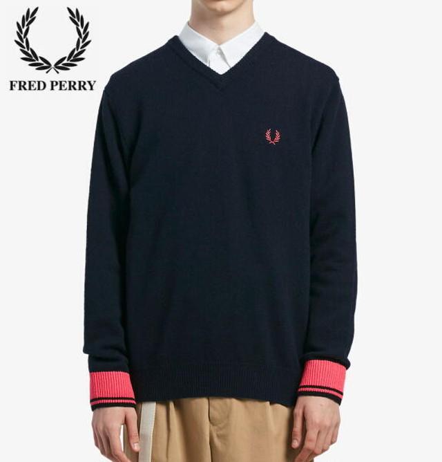 フレッドペリー Vネック ニット セーター メンズ FRED PERRY V NECK SWEATER K7600 NAVY 正規販売店