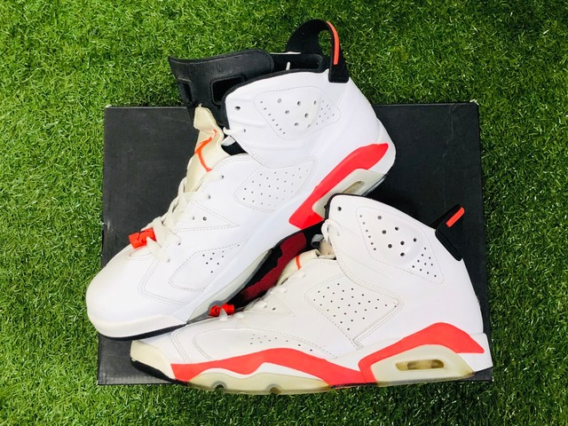 NIKE AIR JORDAN 6 RETRO WHITE/INFRARED 384664-123 30cm 80JA3404