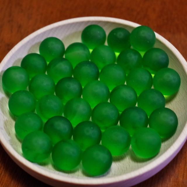 フロストグラスマーブル グリーン17㎜ 30個(松野工業社製・国産)