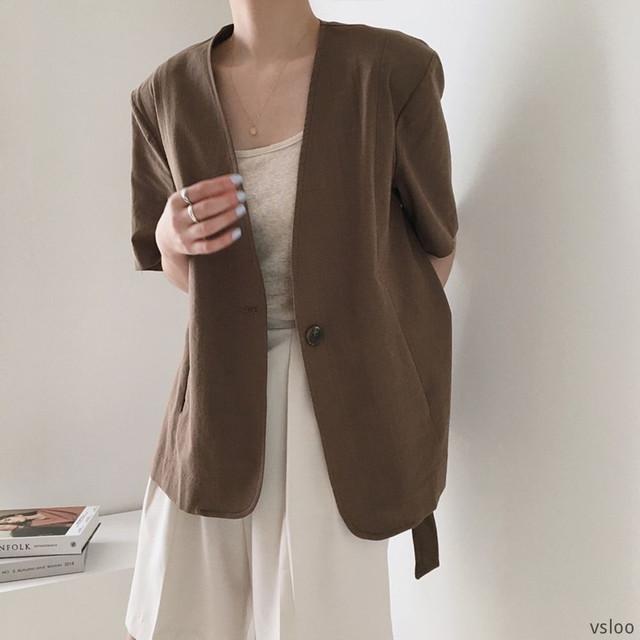 【アウター】着回し力抜群 通勤/OL 無地 半袖 シングルブレスト 折襟 スーツジャケット44554086