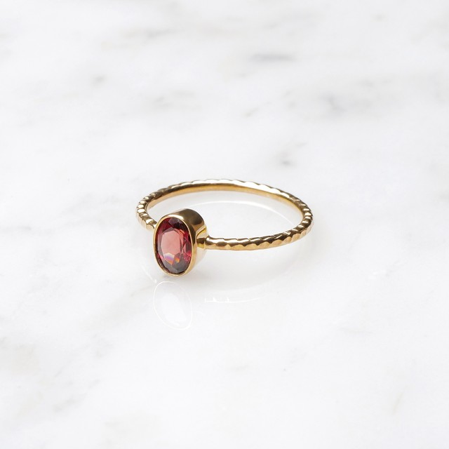 S925 SINGLE PETIT STONE RING GARNET