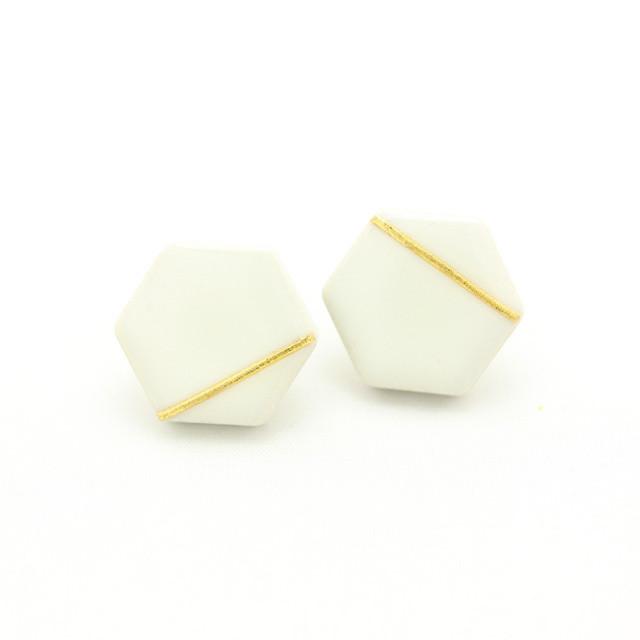 伝統工芸品 美濃焼 六角形 光芒のイヤリング&ピアス ホワイト
