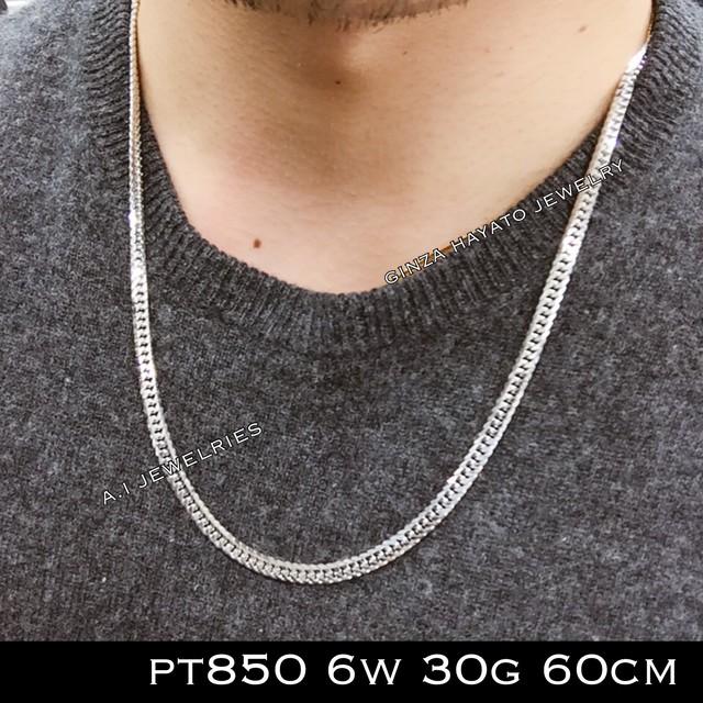 Pt850 プラチナ850  6面 ダブル 喜平 30g 60cm メンズ ネックレス
