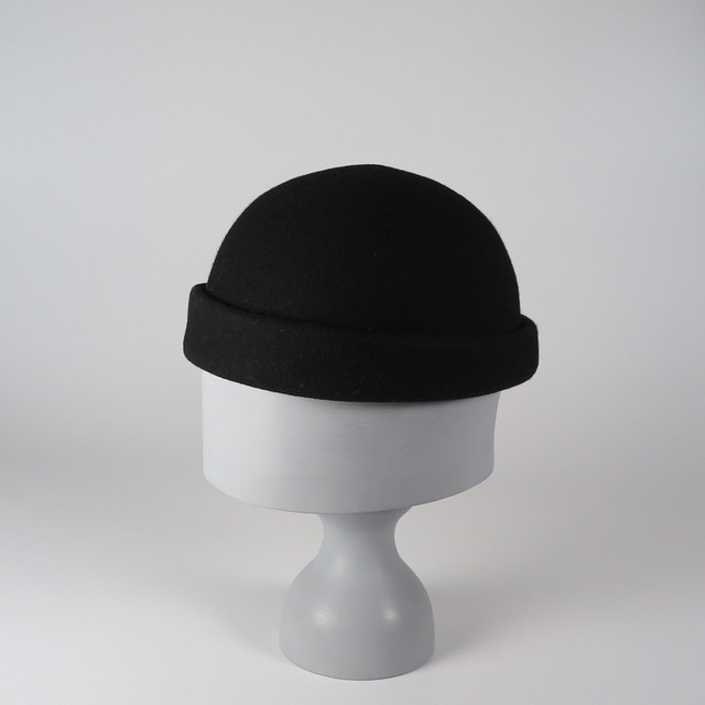 CW19-RC-1 Wool Felt Roll Cap BLK