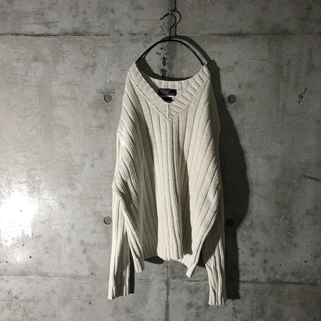 [Ralph Laurent] white braid knit