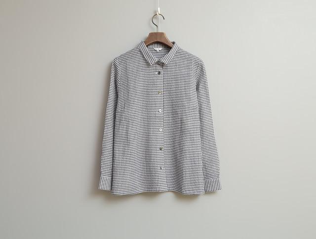 コットンラミーギンガムの長袖シャツ