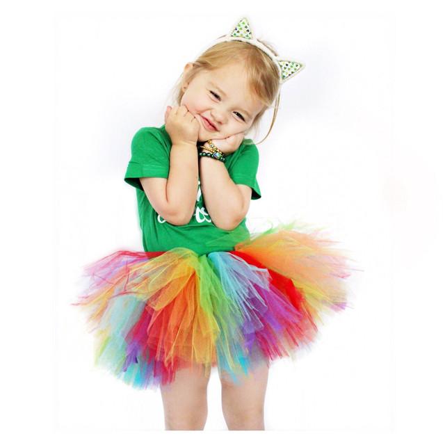 【ガールズ】キュートギャザー飾りメッシュ配色ボールガウンスカート