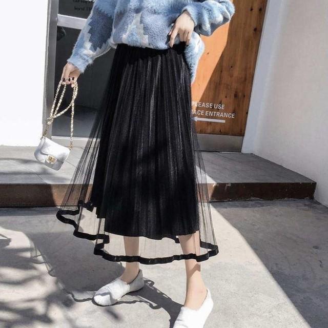 ベルベット オーガンジー 透け感 プリーツロングスカート 5色 B2226