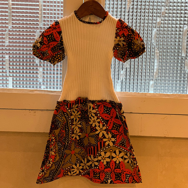 【POP UP出店中】【KIDS】70's jersey and floral cotton dress - French - Size 5 years