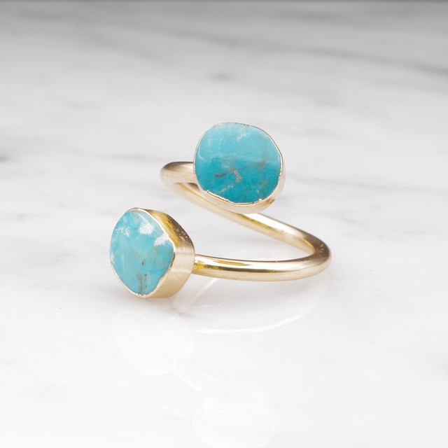 【RESTOCK】DOUBLE TURQUOISE OPEN RING