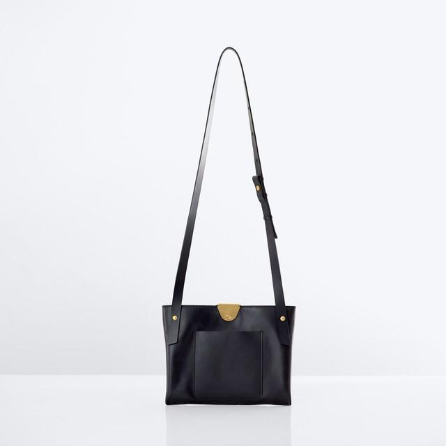 ke shi ki  (ケシキ)  Leather clip compact shoulder bag 【Black】(レザーバッグ) (ショルダーバッグ)