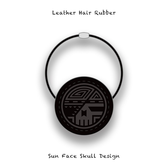 Leather Hair Rubber / Sun Face Skull Design 005