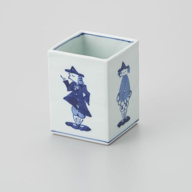 【青花】四方異人箸立