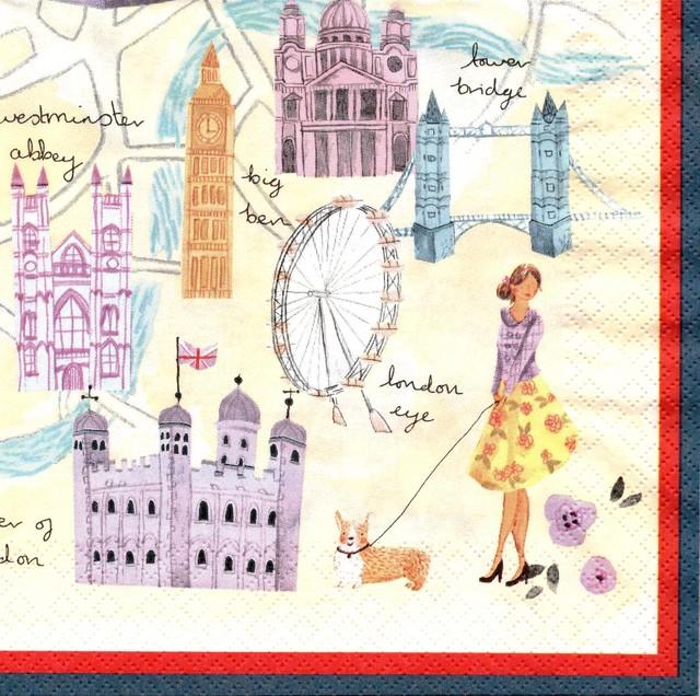 【Aimez le style】バラ売り1枚 ランチサイズ ペーパーナプキン ロンドンイラストマップ クリーム