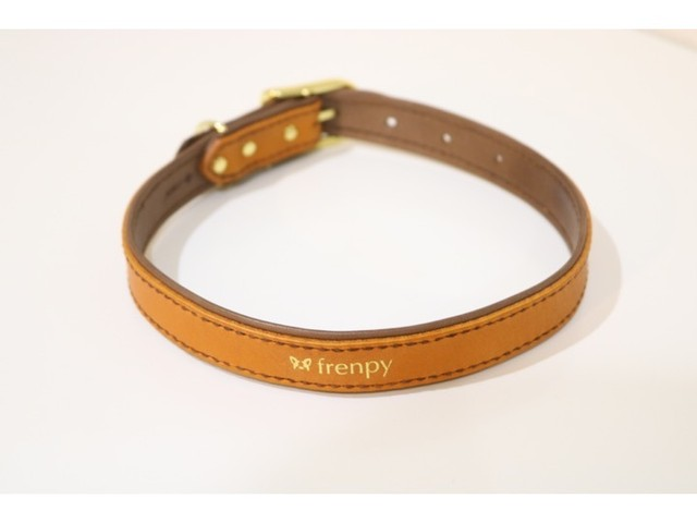 [FBLオリジナル] カラー(首輪)ブラウン/名入れ可能・おそろいのオーナー用ブレスレットあり [LEBEN×French Bulldog Life products]