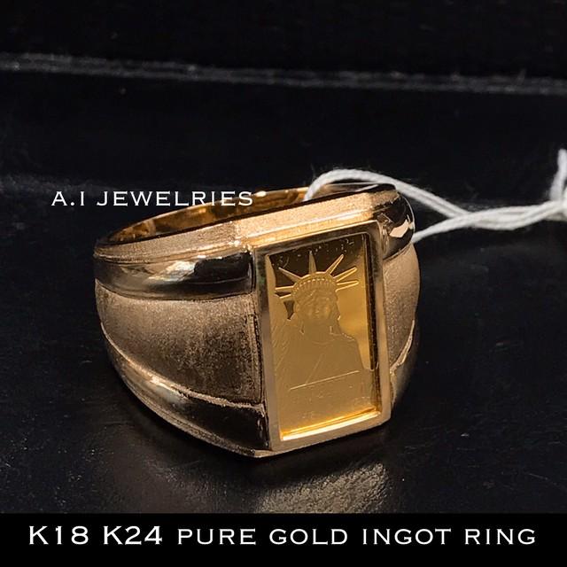 K18 純金 インゴット リング 24金 18金 K24 pure gold liberty ingot ring リバティ 自由の女神