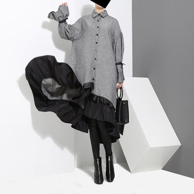 ワンピース ドレス シャツ レイヤード風 フリル ボリューム袖 バイカラー 春秋 ゆったり 体型カバー シャツワンピース ロング丈 長袖 お