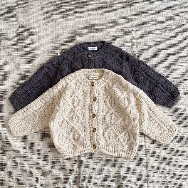【お取り寄せ】80-130  ケーブル編みニットカーディガン 子供 キッズ 秋 冬