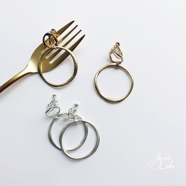 "【No.15】イヤリング "" by no. Lala "" antique double ring グ  :  ACCR180727-02E : Arte*"