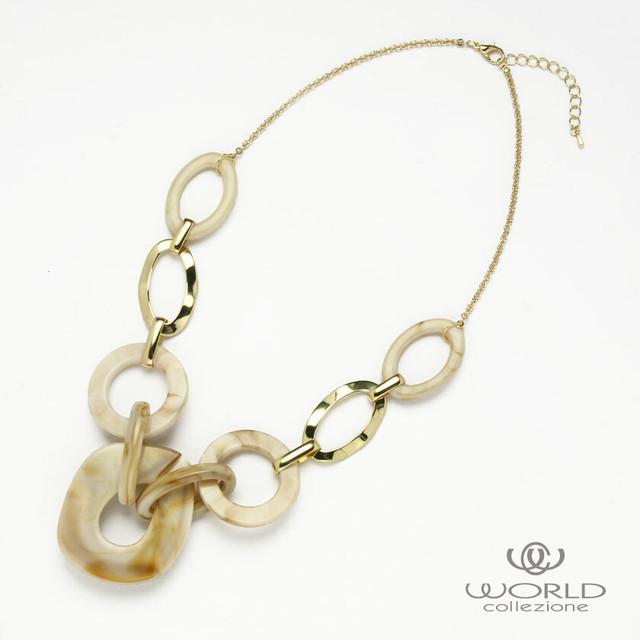 【worcolle】メタル×マーブル柄楕円形パーツのネックレス(No.132735)