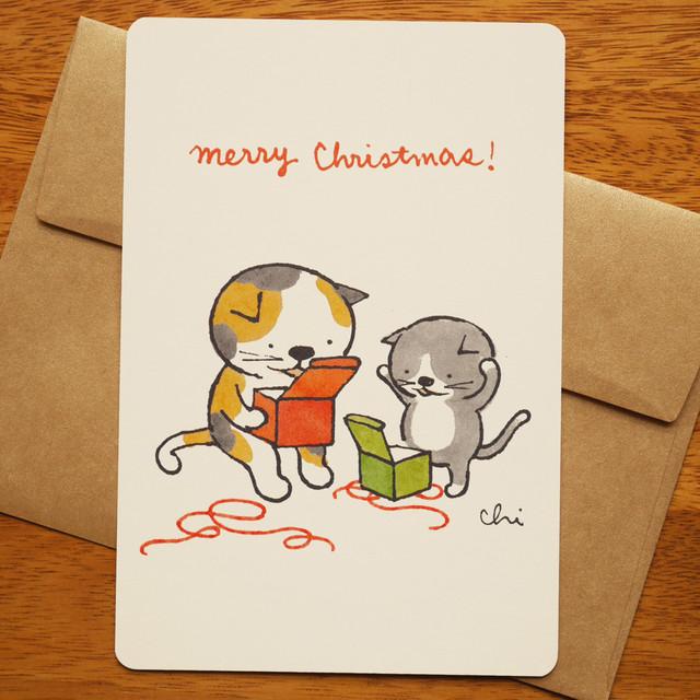 グリーティングカード[クリスマス・丸窓]封筒付き(GTC-C15)
