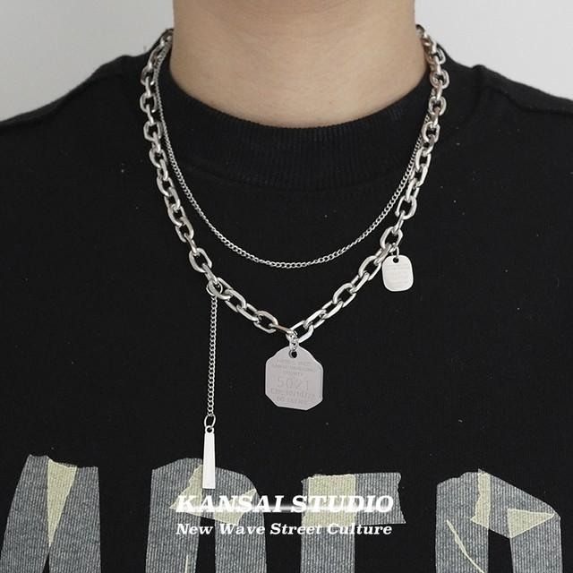 【KANSAIシリーズ】★ネックレス★ 首輪 アクセサリー 男女兼用 ダブル シルバー 銀色 かっこいい