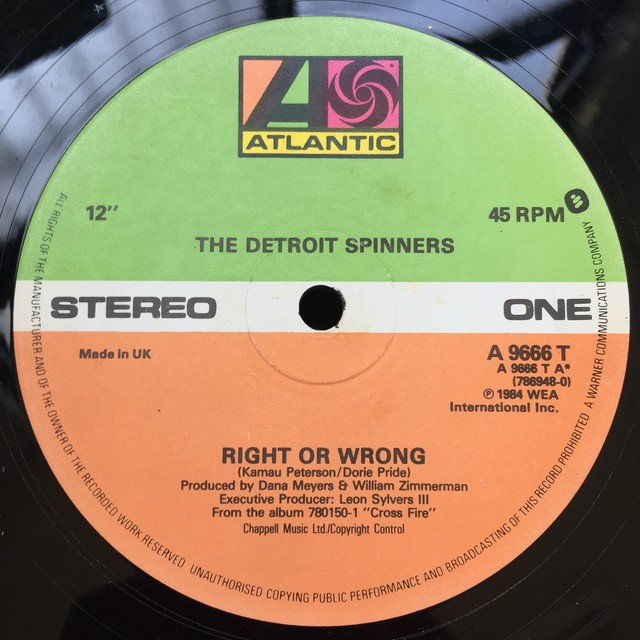 The Detroit Spinners – Right Or Wrong / I'll Be Around